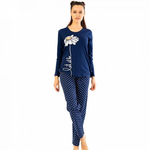 Pijamale Confortabile din Bumbac Vienetta Model 'Let It Be' Culoare Albastru