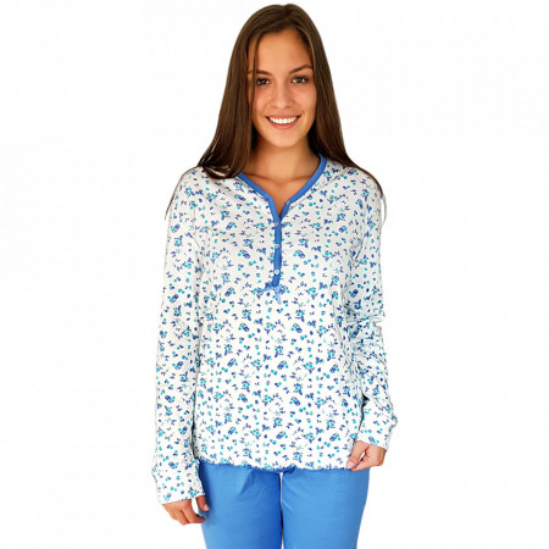 Pijamale Dama Bumbac 100%, Senso, Model Blue Fields