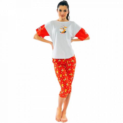 Pijamale Dama Confortabile cu Pantalon 3/4 Vienetta Model 'Make Today Amazing'