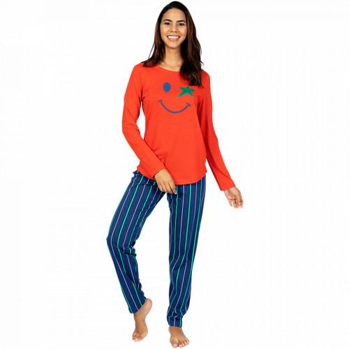 Pijamale Dama din Bumbac 100% Model 'Happy Life' Red
