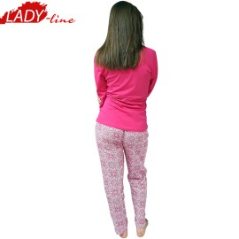 Poze Pijamale Dama Groasa, Model Land Of Butterfly, Producator Lindros Collection, Bumbac 100%, Culoare Fuchsia
