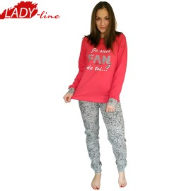 Poze Pijamale Dama Maneca Lunga, Model Fan Glam De Toi..., Brand Italian Fashion Design, Material Bumbac 100% Interlock, Culoare Rosu/Gri, Pijamale Dama Calitate 100%