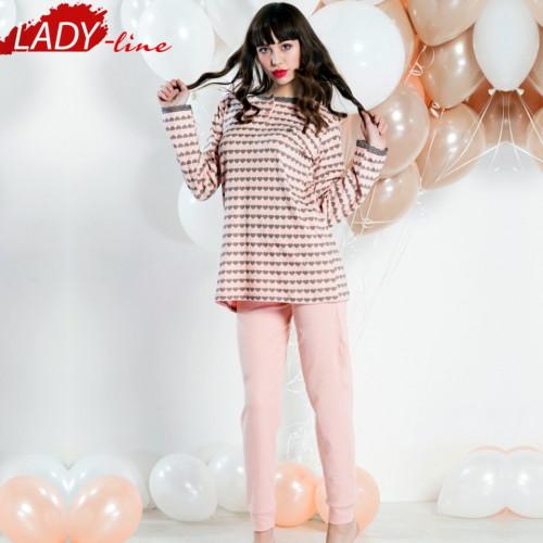 Pijamale Dama Maneca Lunga, Model Love In Pink, Brand Italian Fashion Design, Material Bumbac 100% Interlock, Culoare Roz, Pijamale Dama Calitate 100%