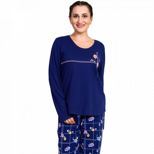 Pijamale Dama Marimi Mari Vienetta Bumbac 100% 'Feel Good' Blue