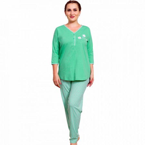 Pijamale Dama Marimi Mari Vienetta Model 'Daisy Flowers' Green