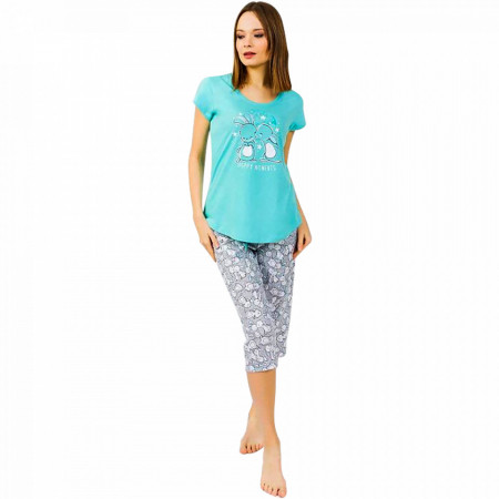 Pijamale Dama Vienetta din Bumbac cu Pantalon 3/4 Model 'Happy Moments' Vernil