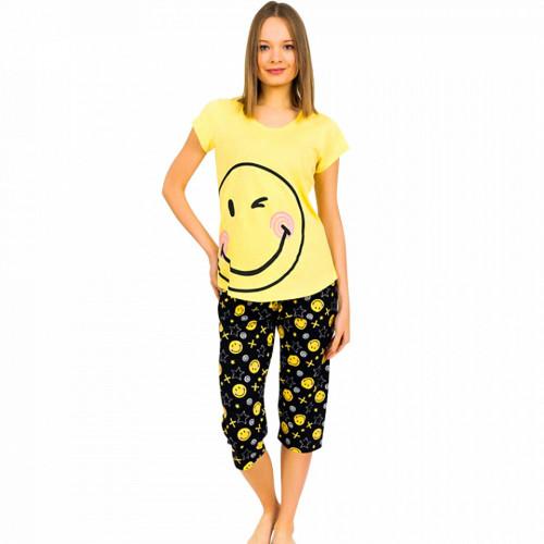 Pijamale Dama Vienetta din Bumbac cu Pantalon 3/4 Model 'Smiley face'