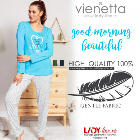 Pijamale Dama Vienetta Model 'Good Morning, Beautiful!' Blue