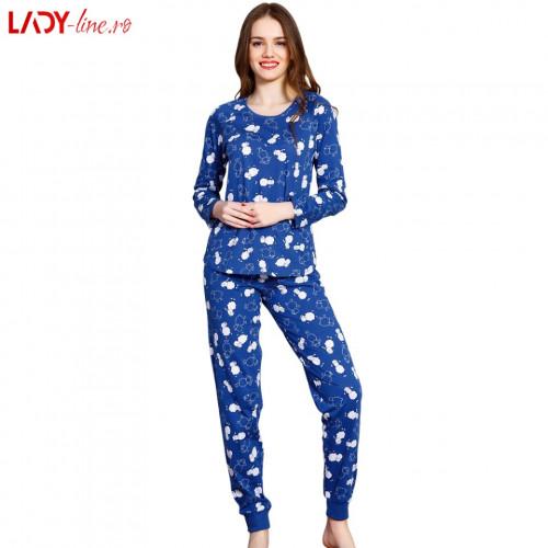 Pijamale Vienetta Secret, Bumbac 100%, 'Party Time' Blue