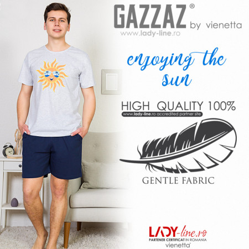 Pijamle Barbati Gazzaz by Vienetta, 'Enjoying the Sun', Culoare Gri