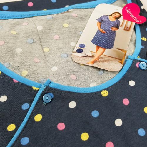 Camasa pentru Gravide si Alaptat XXL Vienetta 'Happy Dots' Gray