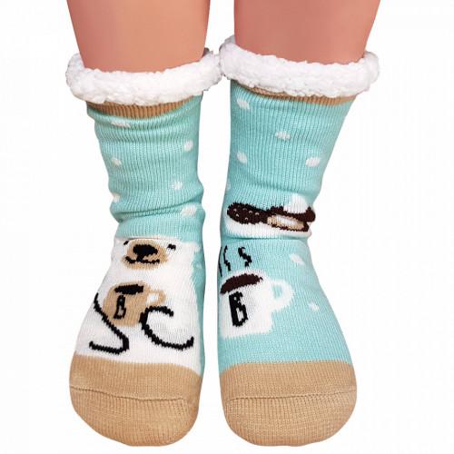 Ciorapi Imblaniti si Caldurosi Lady-Line Model 'Coffe Break' Turquoise
