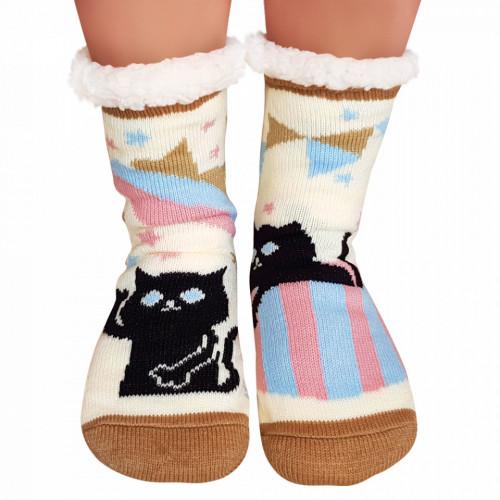 Ciorapi Imblaniti si Caldurosi Lady-Line Model 'Hello Kitty' White Cream