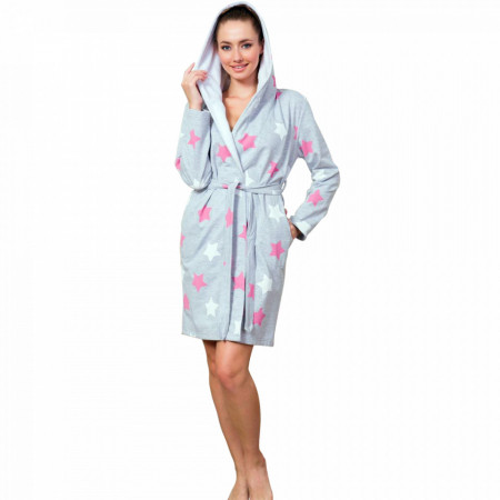 Halat Dama Vatuit la Interior cu Gluga Extra Soft Vienetta 'Stars all Around Us' Pink