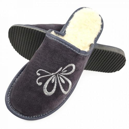 Papuci de Casa din Piele si Lana de Oaie la Interior Culoare Gri Model 'Zbor Liber'