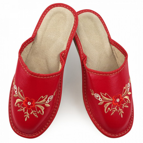 Papuci de Casa Vara din Piele Culoare Rosu Model 'Red Proteea'
