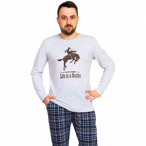 Pijama Barbati Gazzaz by Vienetta, 'Life is a Rodeo' Gray