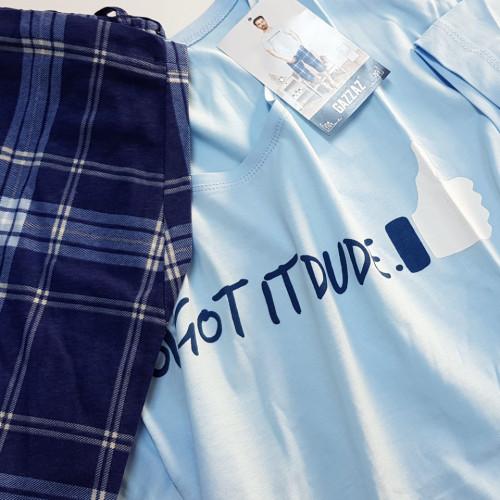 Pijama Barbati Gazzaz by Vienetta, 'You Got It Dude' Blue