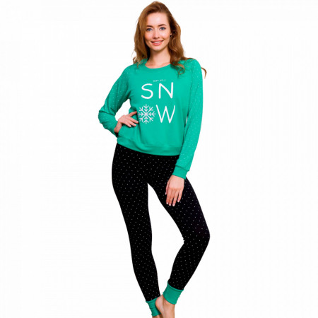 Pijama Dama din Bumbac Vatuita la Interior Vienetta Model 'Let it Snow' Green