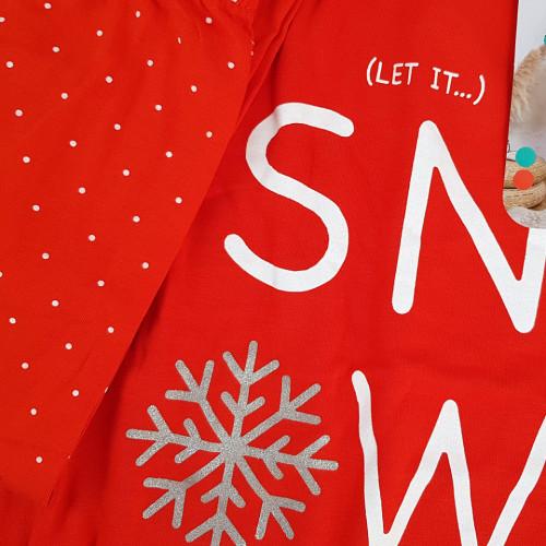 Pijama Dama din Bumbac Vatuita la Interior Vienetta Model 'Let it Snow' Red