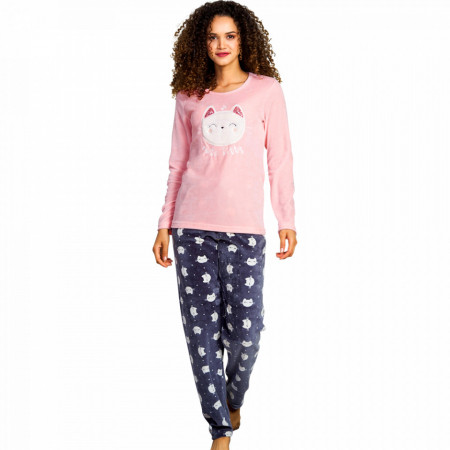 Pijama Dama Soft Velur, Vienetta, 'Cute Kitty'