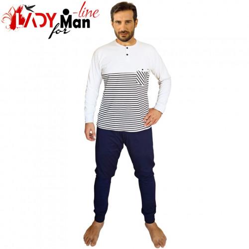 Pijamale Barbati Bumbac 100%, Brand Charachter, 'Kratos' Blu Scuro