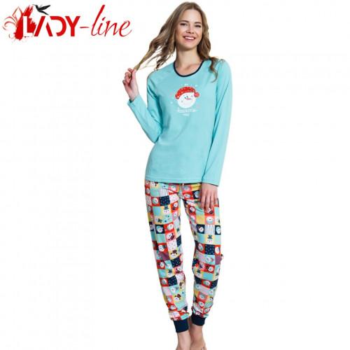 Pijamale Dama Bumbac 100%, 'Awesome Today' Blue, Vienetta Secret