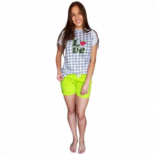 Pijamale Dama Bumbac, Senso, Model 'Love Fruits' Green