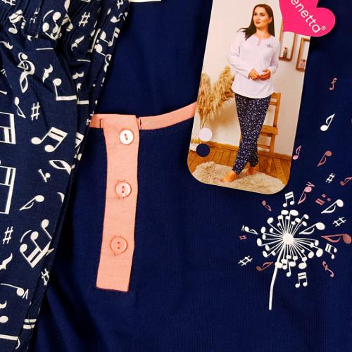 Pijamale Dama din Bumbac Marimi Mari Vienetta Model 'Musio is My Life'