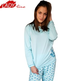 Poze Pijamale Dama Maneca Lunga, Model Blue & Bright Flowers, Producator Dehai-T, Bumbac 100%, Culoare Albastru, Pijamale Dama Maneca si Pantalon Lung
