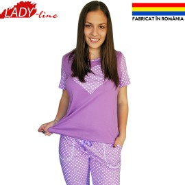 Poze Pijamale Dama Maneca Scurta si Pantalon 3/4, Model 'Heart, Puprle And Sweet Dots', Producator Ana Art Textil, Bumbac 100%, Culoare Mov, Pijamale Fabricate In Romania
