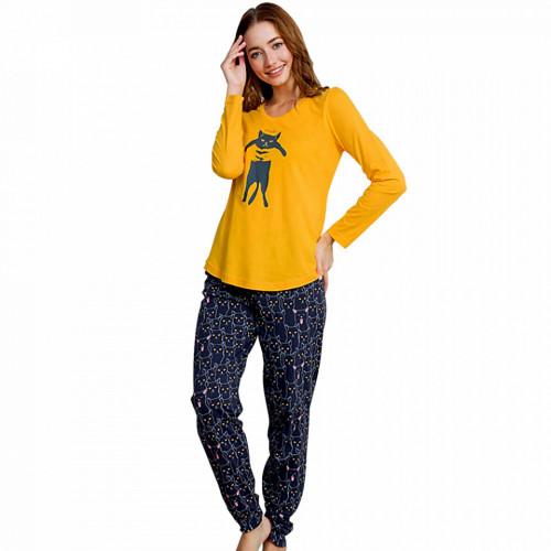 Pijamale Dama Vienetta din Bumbac 100% Model 'Smile Lovely Cat'