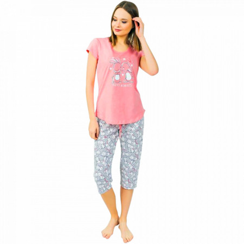 Pijamale Dama Vienetta din Bumbac cu Pantalon 3/4 Model 'Happy Moments' Pink