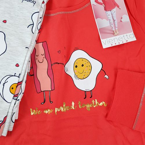 Pijamale Dama Vienetta Dream, 'Eggcellent - Better Togeter' Red