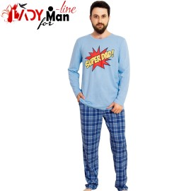 Poze Pijamale Vienetta Secret, Bumbac 100%, 'Super Dad' Blue