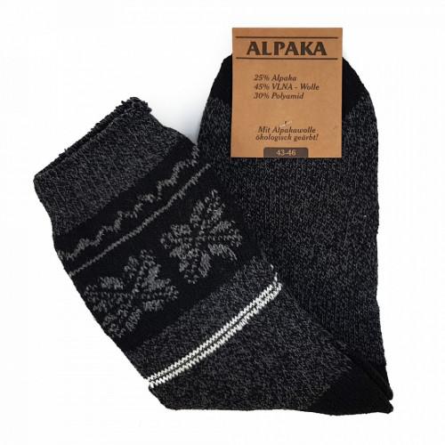 Sosete Calduroase din Lana de Oaie Naturala si Alpaka 'Winter' Dark Gray