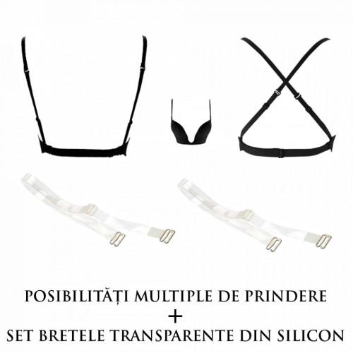Sutien Decolteu Adanc + Bretele Silicon, Brand Secret KTL, Negru