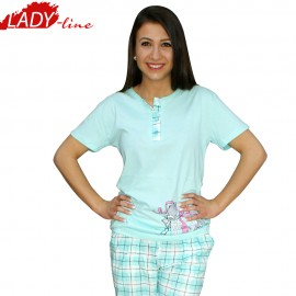 Poze Baby Elephnts, Pijamale Dama Vara, FAWN Collection, Bumbac 100%, Culoare Verde