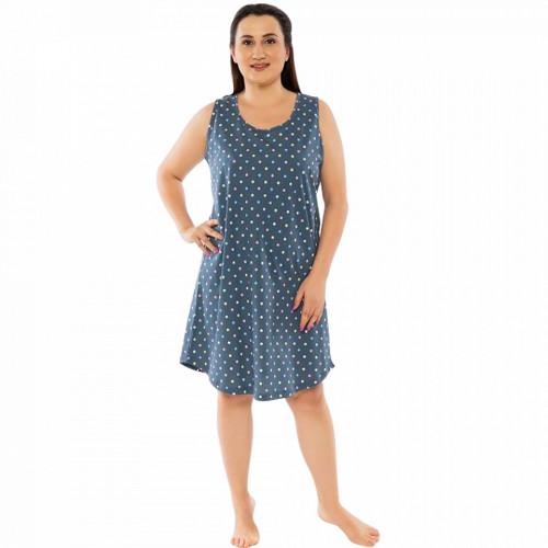 Camasa de Noapte din Bumbac Marimi Mari Vienetta Model 'Dots Divine' Gray