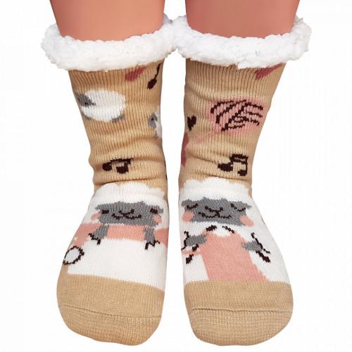 Ciorapi Imblaniti si Caldurosi Lady-Line Model 'Fluffy Sheep' Creamy