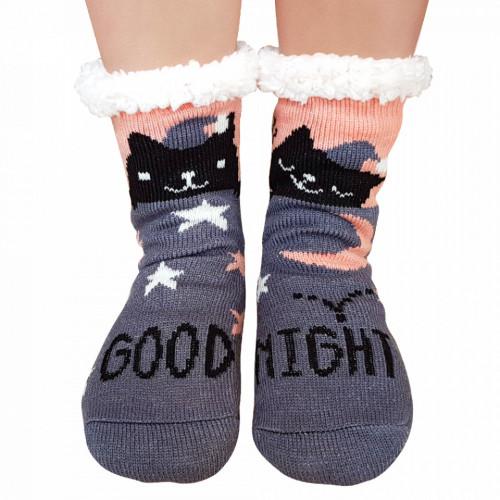 Ciorapi Imblaniti si Caldurosi Lady-Line Model 'Good Night Kitty' Dark Gray