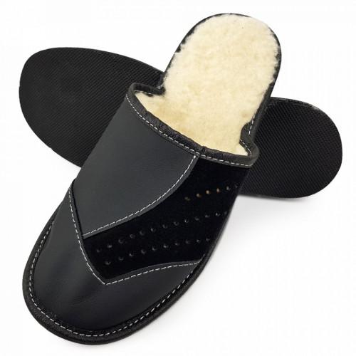 Papuci de Casa din Piele si Lana de Oaie Culoare Negru Model 'Back to Black' Style