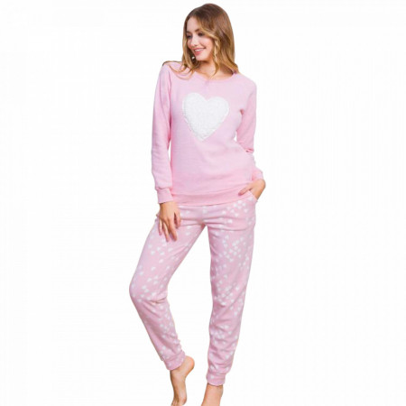 Pijama Dama Calduroasa din Polar Fleece Vienetta 'Love is inthe Air'