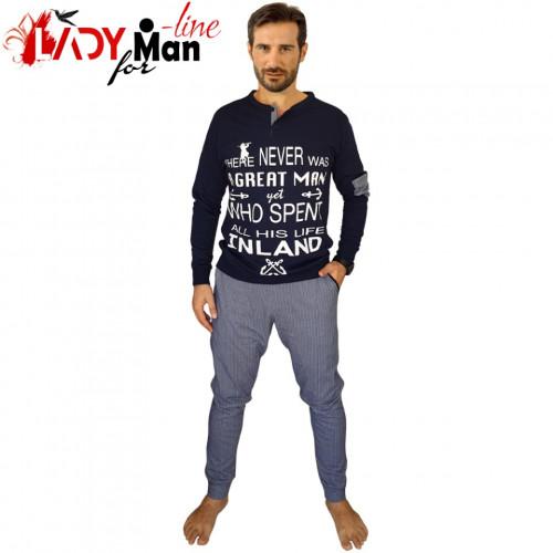 Pijamale Barbati Bumbac 100%, Brand Charachter, 'A Great Man' Blu Scuro