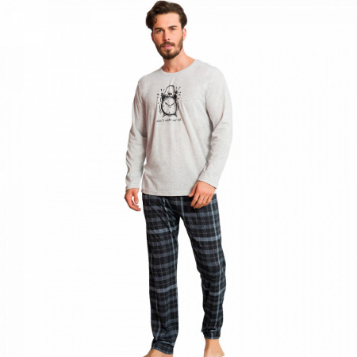 Pijamale Barbati Bumbac 100% Gazzaz by Vienetta 'Don't Wake Me Up' Gray