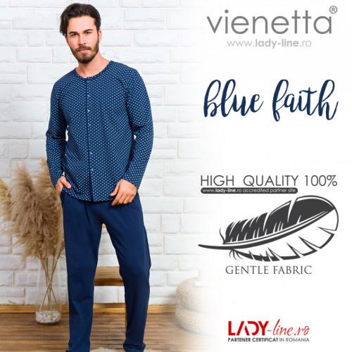 Pijamale Barbati cu Nasturi din Bumbac Gazzaz by Vienetta 'Blue Faith'
