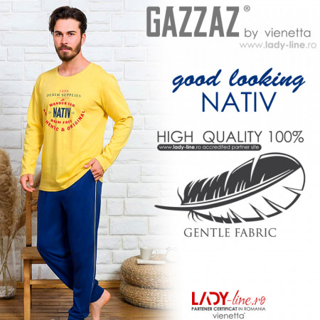 Pijamale Barbati din Bumbac 100% Gazzaz by Vienetta 'Good Looking Nativ' Yellow