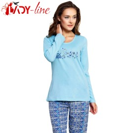 Poze Pijamale Dama Bumbac 100%, 'Prety Girl' Blue, Vienetta Secret