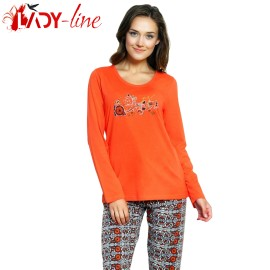 Poze Pijamale Dama Bumbac 100%, 'Prety Girl' Orange, Vienetta Secret
