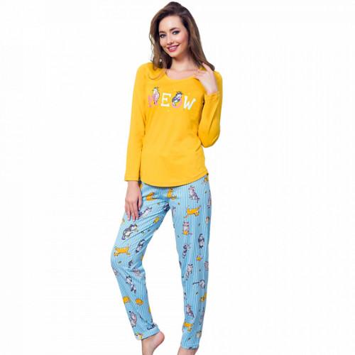 Pijamale Dama Bumbac 100% Vienetta Model 'Meow'